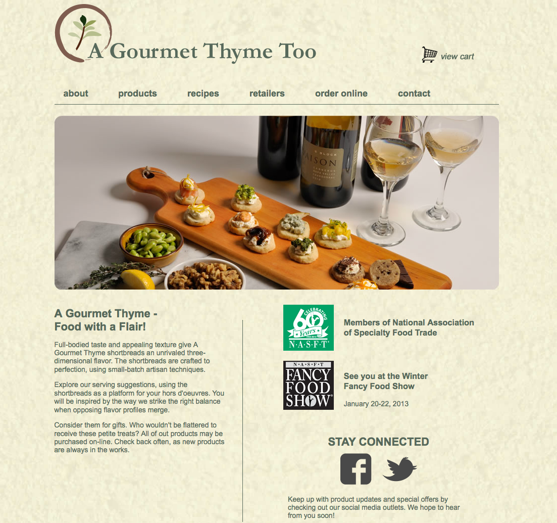 Website Design A Gourmet Thyme Too M R Danielson Advertising